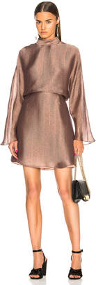 Sally Lapointe Metallic Silk Herringbone Dolman Dress