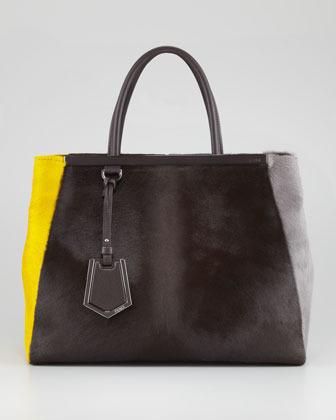 Fendi 2Jours Calf Hair Tote Bag, Brown/Yellow/Iron