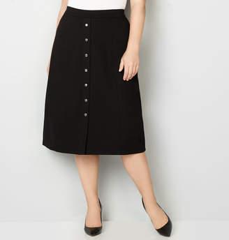 Avenue Button Ponte Skirt