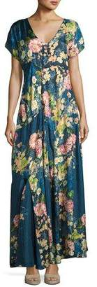 Johnny Was Timmie Short-Sleeve Floral-Print Maxi Dress, Plus Size