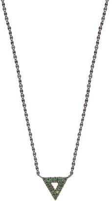 Lana Electric 14K Black Gold Mini Spike Charm Necklace with Green Tsavorite