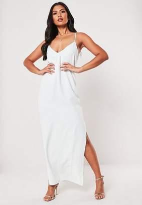 Missguided Petite White Side Split Maxi Dress