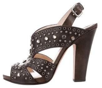Prada Embellished Leather Sandals