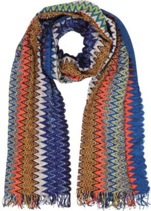 Missoni Blue/Multicolor Viscose Blend Fringed Men's Long Scarf