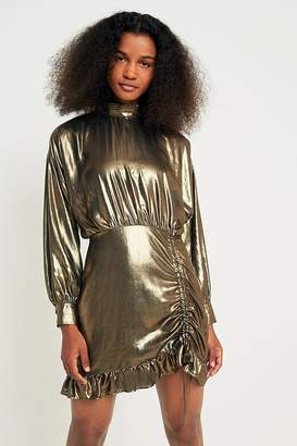 Pins & Needles Metallic Gold Ruched and Ruffled Dress