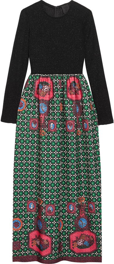 Anna Sui Anna Sui Printed jacquard and ribbed-knit maxi dress