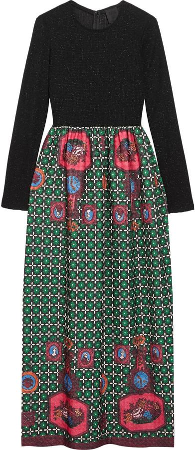Anna SuiAnna Sui Printed jacquard and ribbed-knit maxi dress