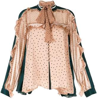 fede3d6cbace49 Sacai ruffle trim pussybow blouse