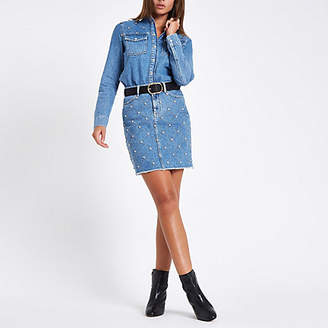 River Island Mid blue denim rhinestone stud oversized shirt