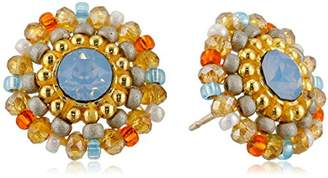 Miguel Ases Topaz Quartz and Swarovski Small Stud Earrings