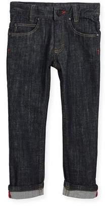 Givenchy Denim Trousers w/ Leather Trim, Size 12