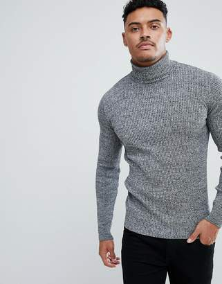 Asos Design DESIGN muscle fit ribbed roll neck sweater in black & white twist