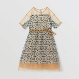 Burberry Short-sleeve Embroidered Tulle Dress