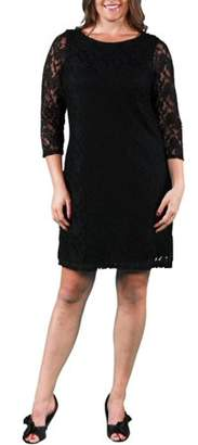 24/7 Comfort Apparel Women's Plus Size Black Lace Dress