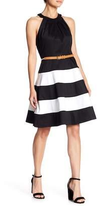 Eliza J Stripe Skirt Cotton Sateen Fit & Flare Dress