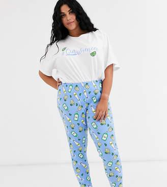 Asos DESIGN Curve ginfluencer tee & legging pyjama set