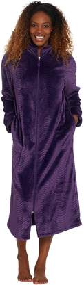 d87bf801bf Stan Herman Silky Plush Trimmed Wave Long Zip Robe