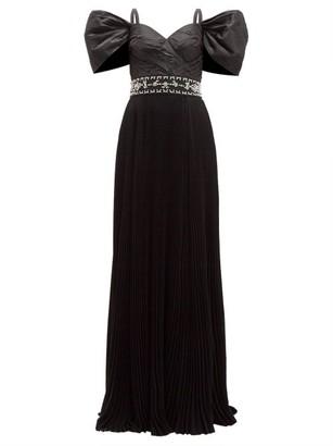 Prada Crystal Embellished Pleated Silk Taffeta Gown - Womens - Black Multi