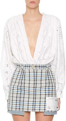 6c94e76a8425 Off-White 80s Sangallo Eyelet-Embroidered Deep V-Neck Shirt