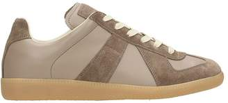 Maison Margiela Replica Leather And Suede Sneakers Taupe