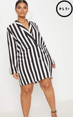 PrettyLittleThing Plus Black Oversized Striped Blazer Dress