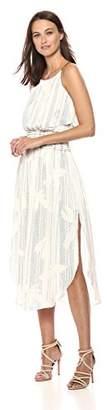 Halston Women's Sleeveless Scoop Neck Smocked Waist Dress
