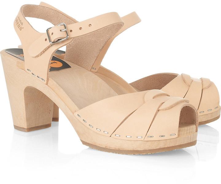Swedish Hasbeens Super High leather clog sandals