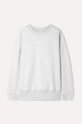 adidas Coeeze Embroidered Striped Organic Cotton-blend Jersey Sweatshirt - Light gray