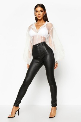 boohoo High Waist Matte Leather Look Skinny Trousers