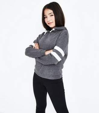 New Look Teens Dark Grey Stripe Sleeve Hoodie