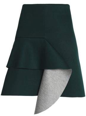 Marni Draped Two-Tone Neoprene Mini Skirt