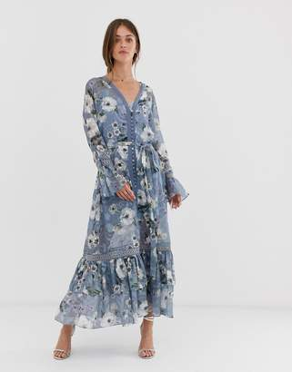 We Are Kindred Tabitha floral midi dress with button front