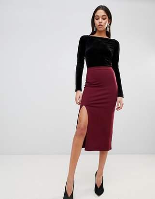 Asos Design Midi Skirt With Front Split