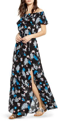 Band of Gypsies Floral Print Off the Shoulder Maxi Dress