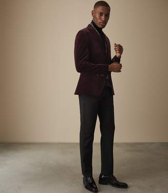 Reiss PLAZA VELVET BLAZER Bordeaux