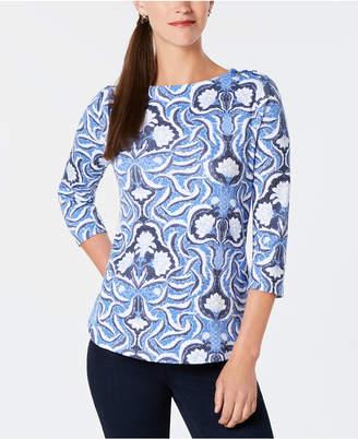 Charter Club Petite Cotton Printed Button-Shoulder Top