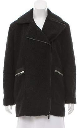 Elizabeth and James Faux Fur Leather-Trimmed Coat