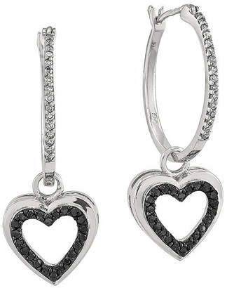 Black Diamond FINE JEWELRY 1/3 CT. T.W. White and Color-Enhanced Sterling Silver Heart Hoop Earrings