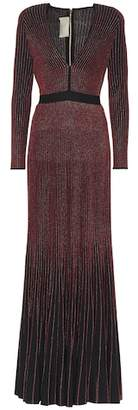 Elie Saab Metallic rib-knit maxi dress