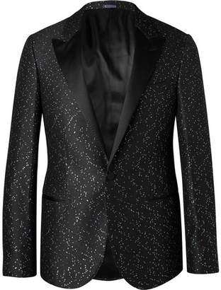 Lanvin Black Slim-Fit Paliette-Embellished Jacquard Blazer - Men - Black
