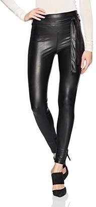 David Lerner Women's Mid-Rise Seamed Belted Legging, M