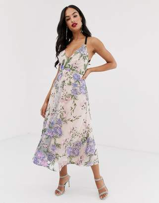 Asos Edition EDITION strappy back embroidered midi dress