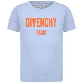 Givenchy GivenchyBoys Pale Blue Logo Print Top