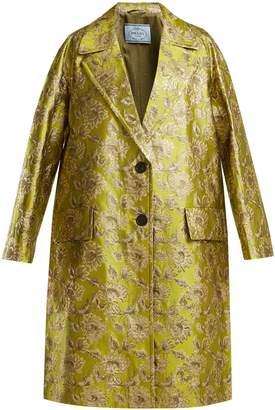 Notch-lapel floral-brocade coat