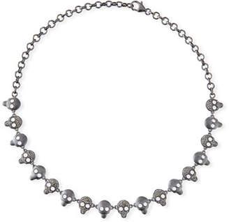 Margo Morrison Diamond & Crystal Skull Chain Necklace