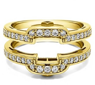 Twobirch Brilliant Moissanite Mounted in Sterling Silver Square Halo Style Wedding Ring Guard (0.38ctw)