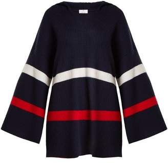 Allude Hooded Striped Cashmere Sweater - Womens - Blue Multi