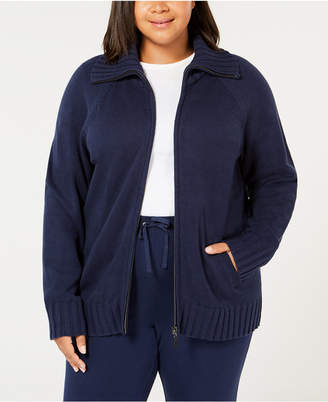 Karen Scott Plus Size Wing-Collar Zip Cardigan