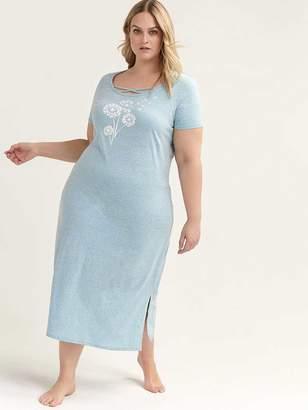 Printed Cotton Long Sleepshirt - ti Voglio bc524333e