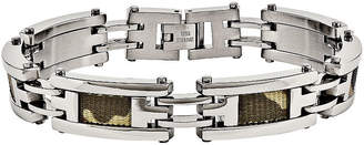 FINE JEWELRY Mens Stainless Steel Brown Camo Fabric Inlay Chain Bracelet